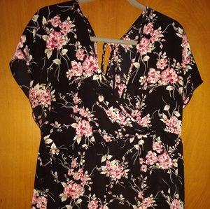 Torrid black floral Criss cross/wrap style blouse